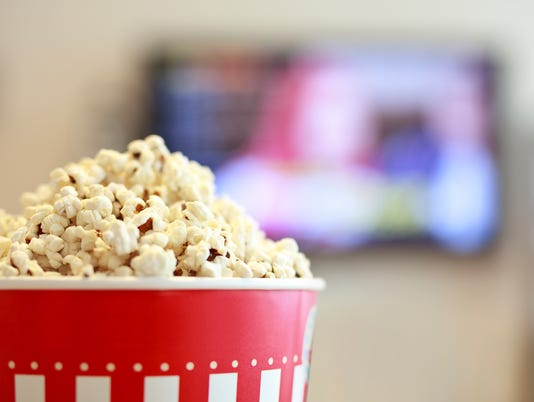 Watching movie on Smart TV & with Popcorn