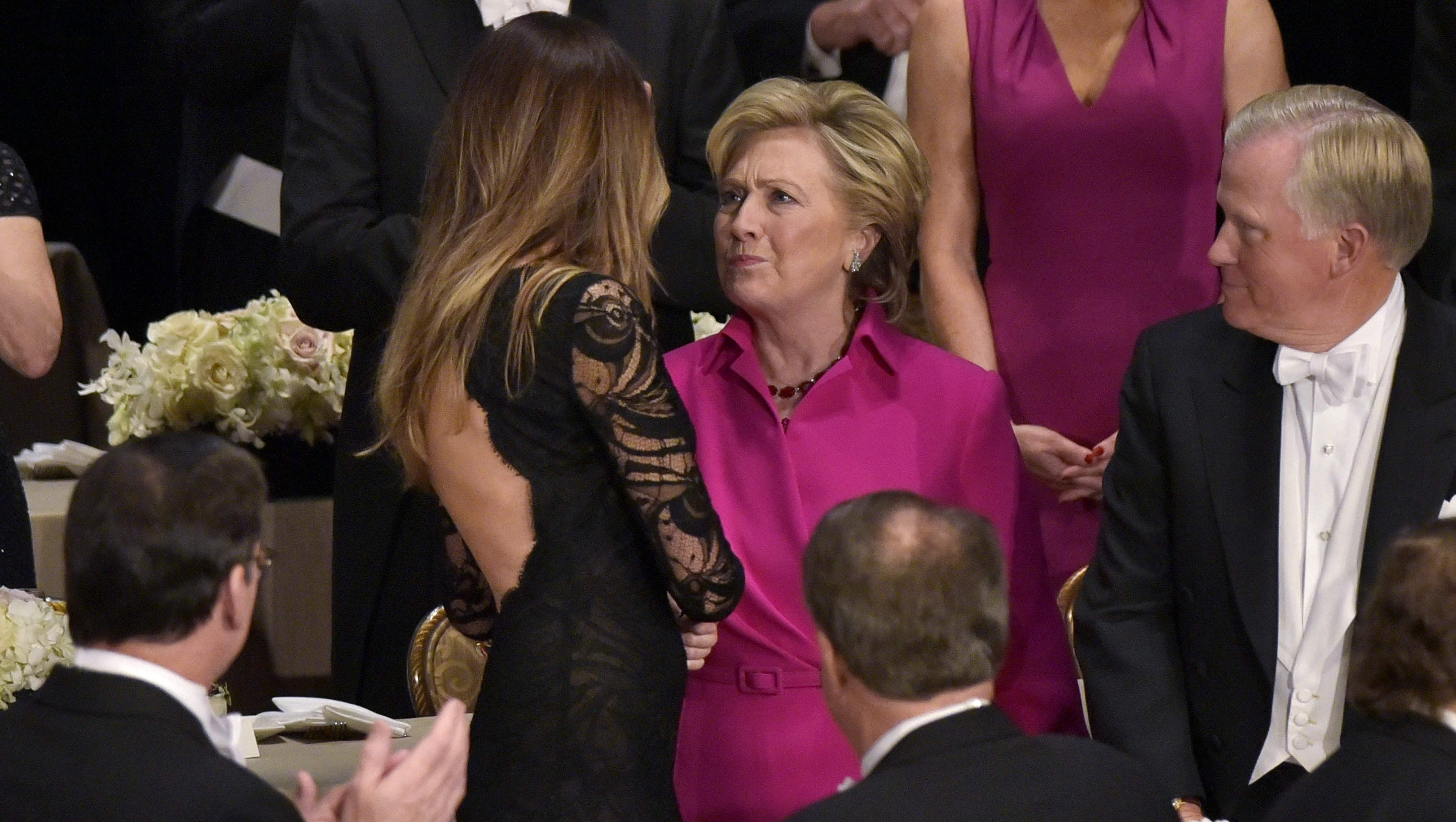 Hillary Clinton Ditches Pantsuit Stuns In Bright Pink Ralph Lauren Gown