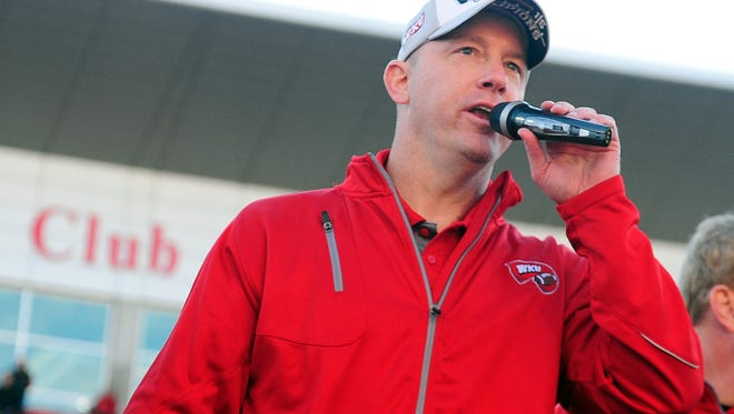 Dec 5, 2015; Bowling Green, KY, USA; Western Kentucky Hilltoppers head coach Jeff Brohm speaks after defeating Southern Miss Golden Eagles during the Conference USA football championship game at Houchens Industries-L.T. Smith Stadium. Western Kentucky Hilltoppers won 45-28. Mandatory Credit: Joshua Lindsey-USA TODAY Sports
