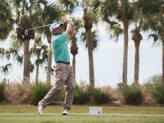 Billy Mayfair hits from the tee box on the 16th hole during the final day of the Chubb Classic in Naples on Sunday at TwinEagles Club.