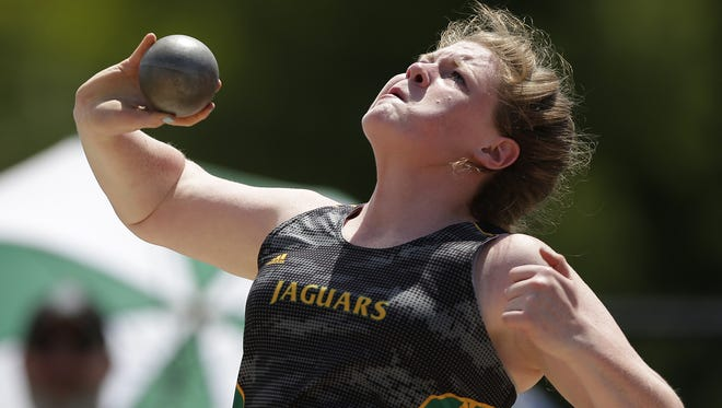 Ashwaubenon junior Erin Dunning makes a throw in the Division 1 shot put during the WIAA state track and field meet at Veterans Memorial Field Sports Complex in La Crosse on June 4. Dunning won a state title in the event and also placed fourth in the discus.
