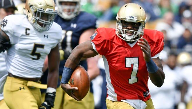 Bandon Wimbush will start at quarterback for Notre Dame.