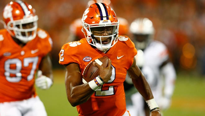 Sep 9, 2017; Clemson, SC, USA; Clemson Tigers quarterback Kelly Bryant (2) runs in for a touchdown in the third quarter against the Auburn Tigers at Clemson Memorial Stadium.