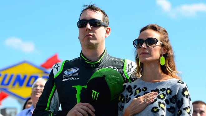 Kyle Busch and his wife Samantha, right, are helping breast cancer patients with their medical expenses.