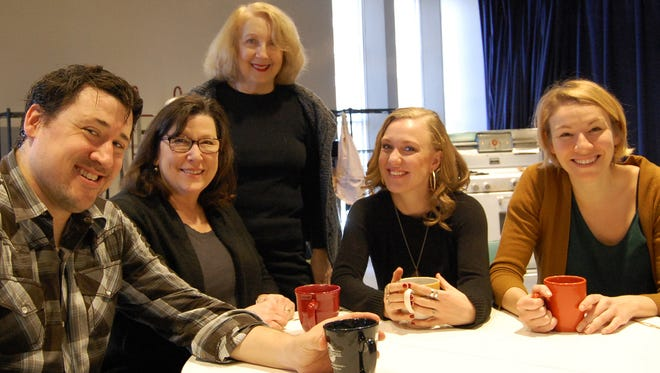 Director Pamela Hunt (standing) with the cast: Colin Ryan, Toni DiBuono, Katharine McLeod and Laura Gragtmans.