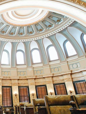 The Mississippi House chamber inside the Capitol in Jackson, Miss., has a domed ceiling.