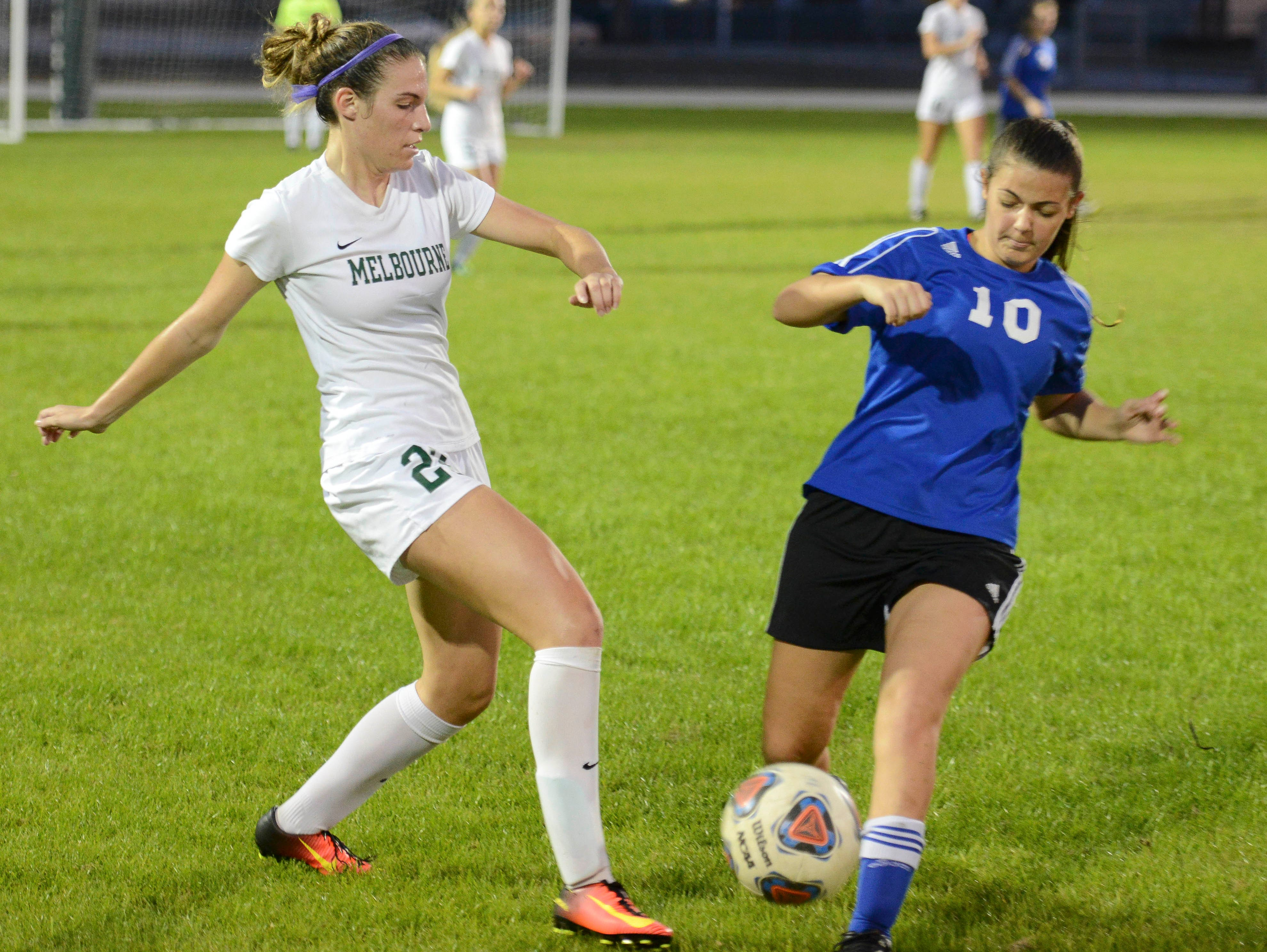 Melbourne's Haley Duff, pictured in the District 6-4A semifinal against Heritage, scored the only goal in Friday's district title win over Viera.