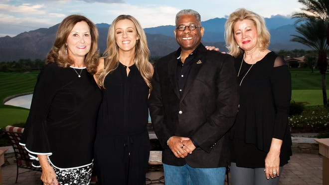 (from left) Luncheon Chairwoman Pat McDonnell, emcee Megan Alexander, guest speaker Lt. Col. Allen West, and Jan Lupia, Mama's House founder