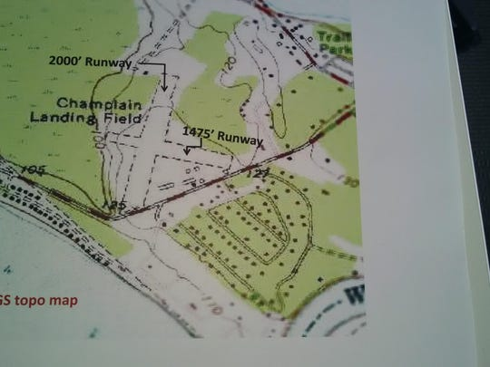 A topographical 1972 map shows the runways at Champlain Airport in Colchester.