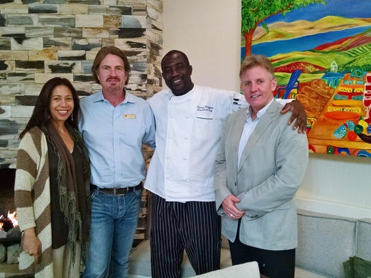 The Two Bunch Palms and Essense restaurant team include (left to right): Rianna Riego, marketing; John Trudeau, general manager; Cossi Houegban, executive chef; and Kevin Kelly, CEO.