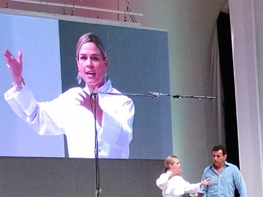 Celebrity chef Cat Cora chat with Food + Wine Festival luncheon host Mark de Carlo.