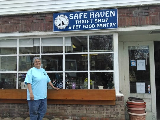 Josephine Santoro stands in front of the Safe Haven Food Pantry and Thrift Shop in Hopewell Junction.