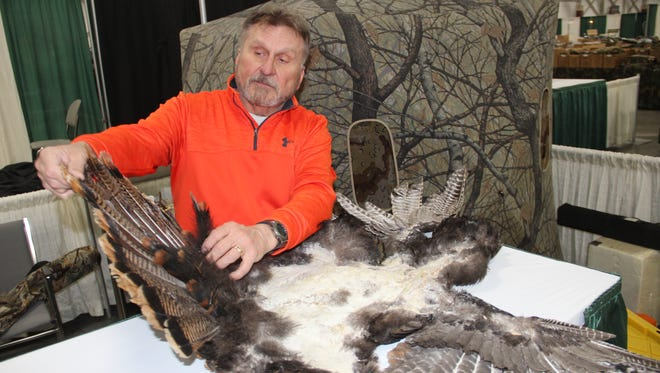Loren Voss of Fond du Lac, Wis. shows a skin from a wild turkey he shot that will be used for a decoy. Voss, 69, has hunted turkeys for 48 years and considers Wisconsin the best spring turkey hunting destination in the nation.