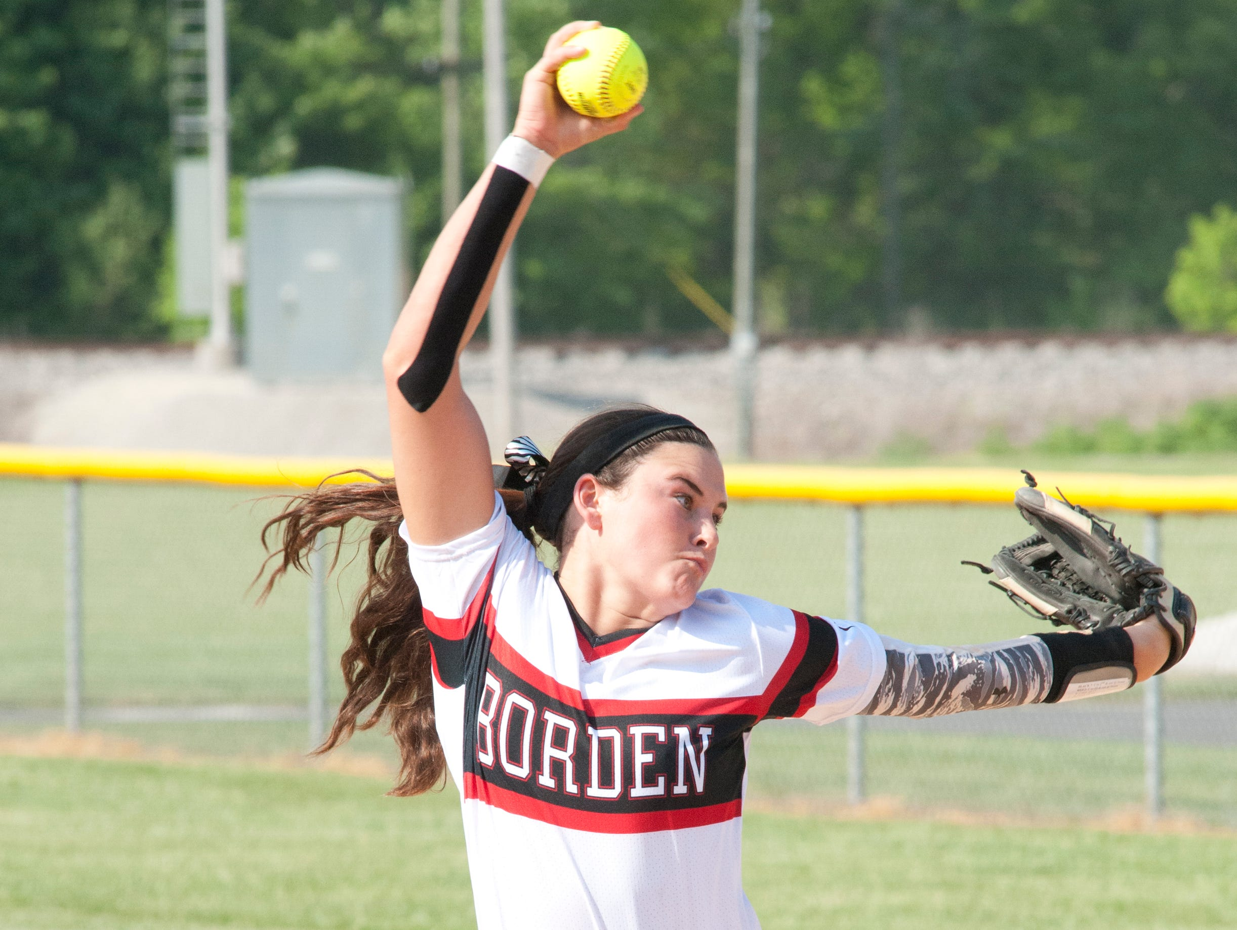 Borden Lady Braves starting pitcher Paige Schindler hurls the ball towards home plate. 07 May 2015