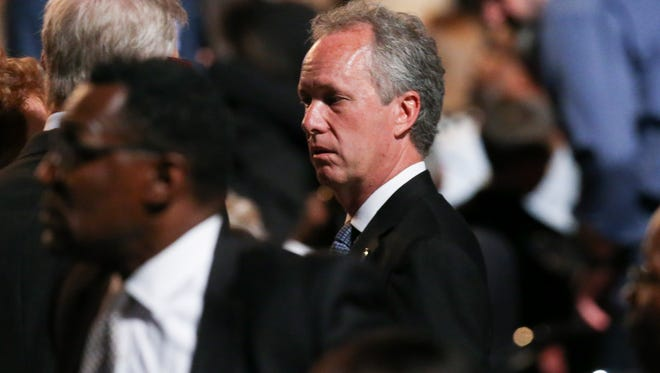 Mayor Greg Fischer arrives for the funeral for Muhammad Ali at the KFC Yum! Center.June 10, 2016