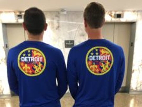 Examples of the relay and full marathon shirts for the 2017 Detroit Free Press/Chemical Bank Marathon.