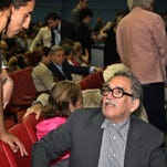 Colombia's writer Gabriel Garcia Marquez, right, speaks with fans at the inauguration of the 26th Havana Film Festival in Havana, Cuba, on Dec. 7, 2004. Cuba is dedicating the 2014 Havana Film Festival to the late Nobel Prize-winning novelist Gabriel Garcia Marquez, who was a longtime friend of former leader Fidel Castro and also a major backer of Cuba's marquee international cinema bash. Havana's film festival takes place each December. Garcia Marquez died on April 17, 2014, in Mexico City.