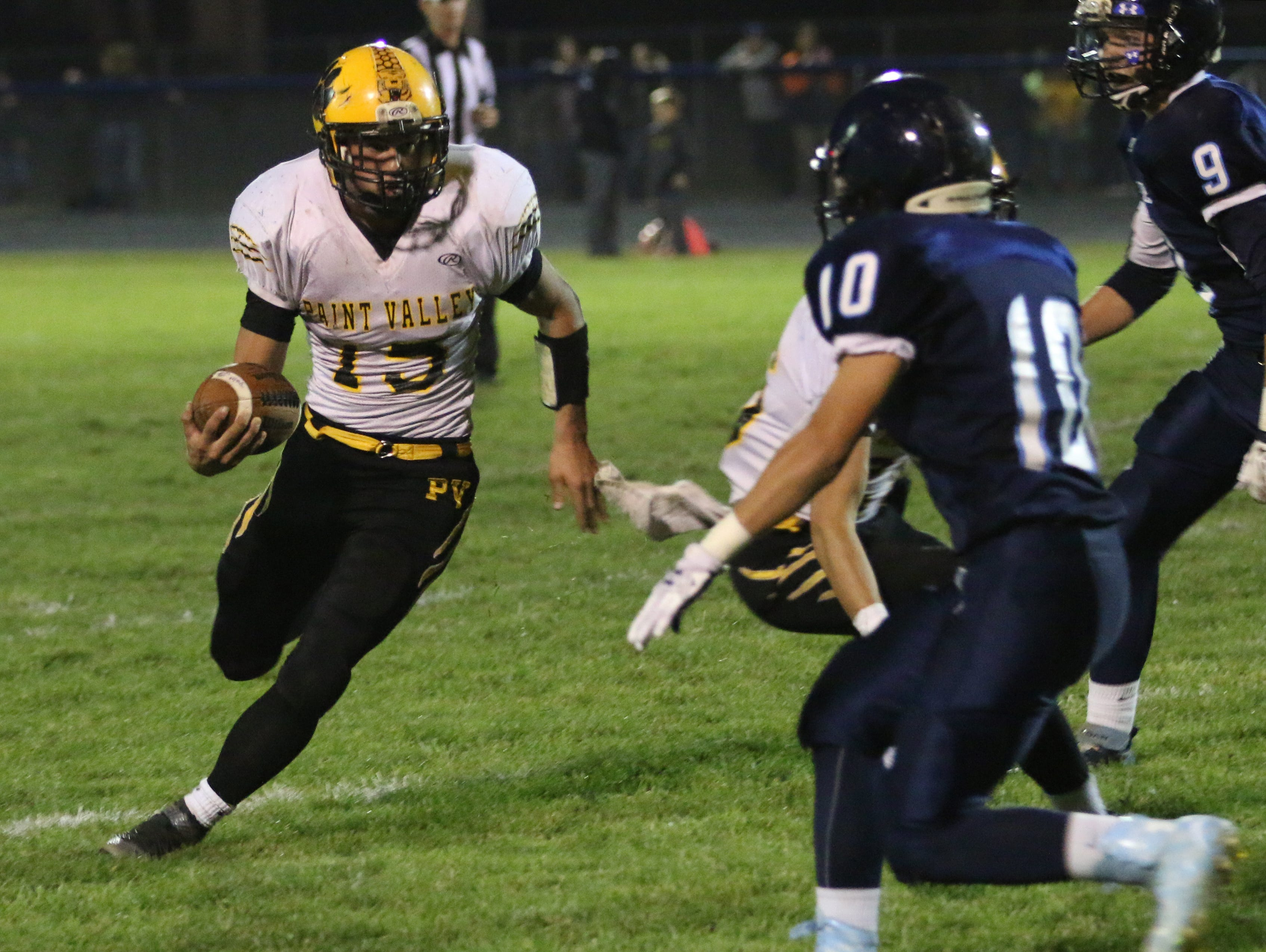 Paint Valley's Drake Stanforth runs the ball Friday, Oct. 23, 2015, at Adena High School.