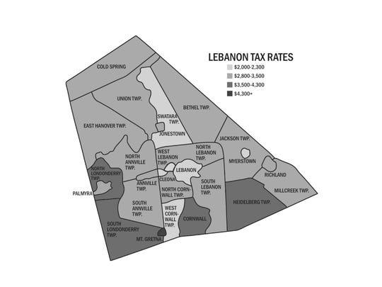 Lebanon County tax rates by municipality.