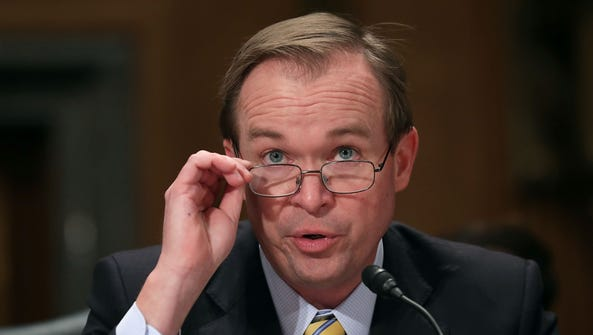 Mick Mulvaney is pictured during his confirmation hearing