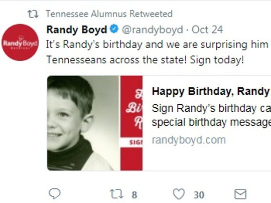 The Tennessee Alumnus Twitter account has since taken down this retweet of a Randy Boyd campaign account which could be seen as an endorsement of the Republican gubernatorial candidate.