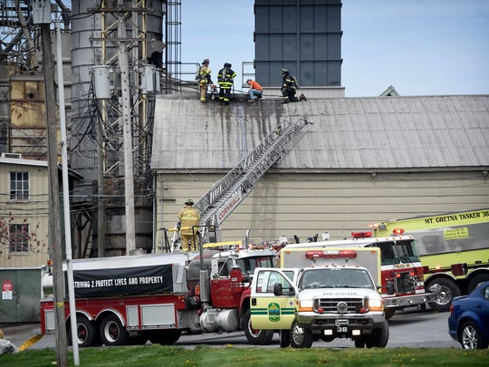 A fire at Mark Hershey Farms on Tuesday, April 19, caused minimal damage to the corn shed after ash from the soy bean roaster started a fire in the eaves.