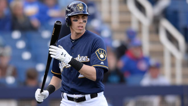 Christian Yelich goes 1 for 3 with a pair of strikeouts during his Brewers debut in a 2-1 win over the Chicago Cubs in the Cactus League opener for both teams on Friday at Maryvale Baseball Park in Phoenix.