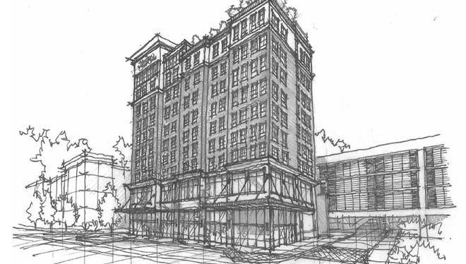 A sketch shows the Hampton Inn & Suites hotel planned for Capitol View in Nashville.