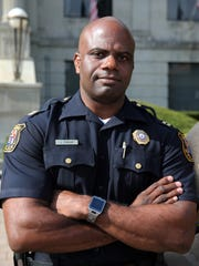 Linden's new Police Chief Jonathan Parham who will be sworn into office on Sept. 1st is photographed outside of City Hall in Linden on Wednesday August 31, 2016.