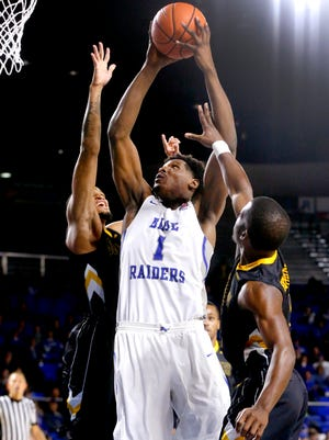 MTSU's Brandon Walters (1) goes up for a shot during the game against Southern Miss on Saturday.