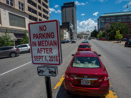 Parking in the median of Commerce Street in Montgomery, Ala. will not be allowed after September 1, 2016.