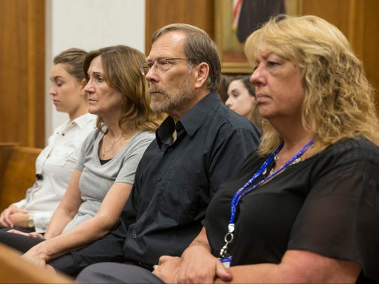 Michael Stern, center, the father of murder victim Sarah Stern, listens to the hearing. Liam McAtasney appears before the Honorable Lisa P. Thornton in Monmouth County Superior Court during a hearing on motions for the trial of the murder of Sarah Stern. Freehold, NJFriday, September 15, 2017@dhoodhood