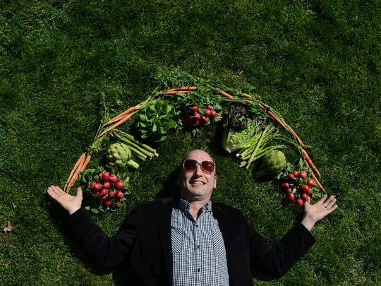 Knife & Fork owner and chef Nathan Allen dreams of spring vegetables in a Scene cover shoot in 2013.