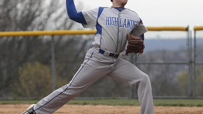Ricky Raisor started on the mound for the Highlands Bluebirds at St. Xavier High School April 10.