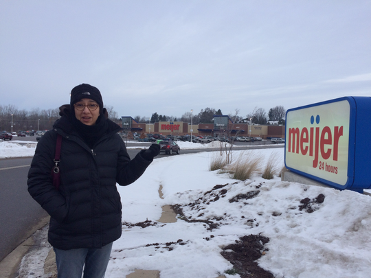 Jane Kramer of Bath Township, standing outside a Bath Township Meijer Dec. 23, 2016, explains why she's motivated to get rid of junk food and tabloids at Meijer checkout aisles.