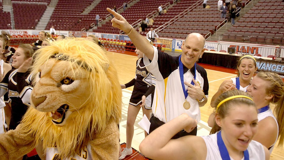 Red Lion basketball coach Don Dimoff celebrates with
