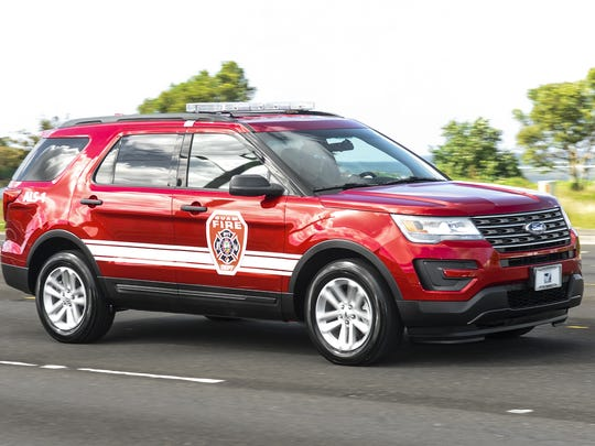 One of two new Guam Fire Department Advanced Life Support vehicles travels on Marine Corps Drive in Hagatna on Monday, Dec. 7. The 2015 Ford Explorers, valued at $40,000 each, were purchased using the Fire, Life and Medical Emergency Funds. The vehicles will replace ALS vehicles currently assigned to the Sinajana and Barrigada fire stations, said Firefighter Kevin Reilly, department spokesman.