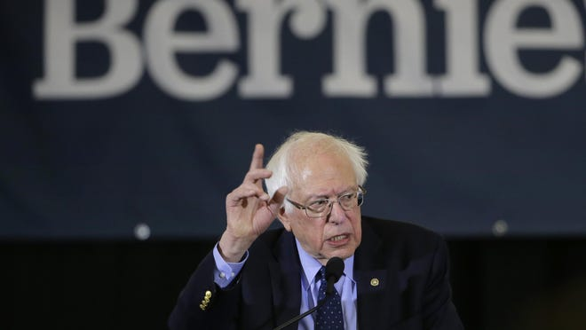"In this March 10, 2019, file photo, Democratic presidential candidate Sen. Bernie Sanders, I-Vt., addresses a rally during a campaign stop in Concord, N.H. ""Medicare for All"" legislation has two provisions that could make it even more politically divisive for 2020 Democratic presidential candidates: It lifts curbs on government health insurance for people in the country illegally and revokes longstanding restrictions on taxpayer-funded abortions."