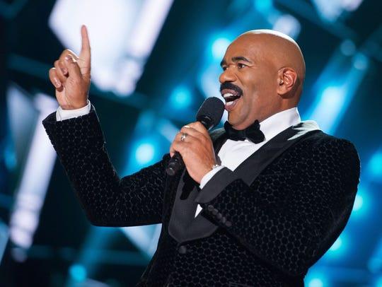 Steve Harvey hosts the 2015 Miss Universe Telecast