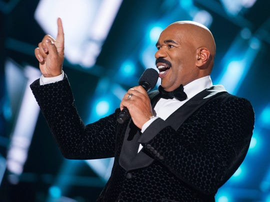 Steve Harvey hosts the 2015 Miss Universe Telecast on Dec. 20, 2015 in Las Vegas, Nev.