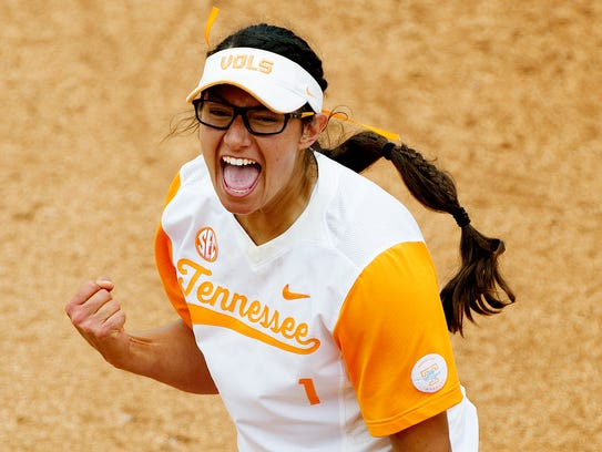 Tennessee's Matty Moss celebrates after an out during