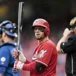 Cincinnati Reds center fielder Tyler Holt (40) bats in the bottom of the third inning of the MLB game between the Cincinnati Reds and the Chicago Cubs at Great American Ball Park in Cincinnati on Thursday, Oct. 1, 2015. The Reds fell to the Cubs, 5-3, in the final home game of the season.