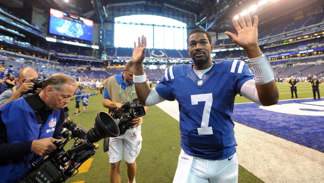 Colts quarterback Jacoby Brissett ran for two touchdowns and passed for another in Sunday's victory over the Browns.