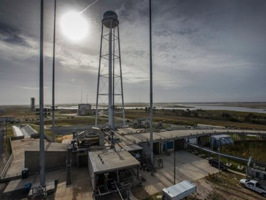 A view of the now-repaired launchpad at Wallops Flight