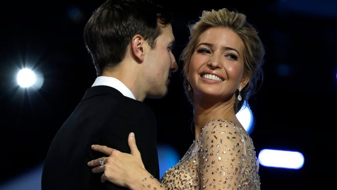 Ivanka Trump and her husband Jared Kushner dance at the Freedom Ball, Jan. 20, 2017.