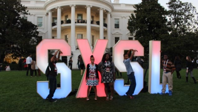 Students Jeremiah Bolden, Ti'Asia Boner, Leah Young, Xander Wynn and Ellary Cooper stand in front of the  White House, where they traveled for a student film festival.