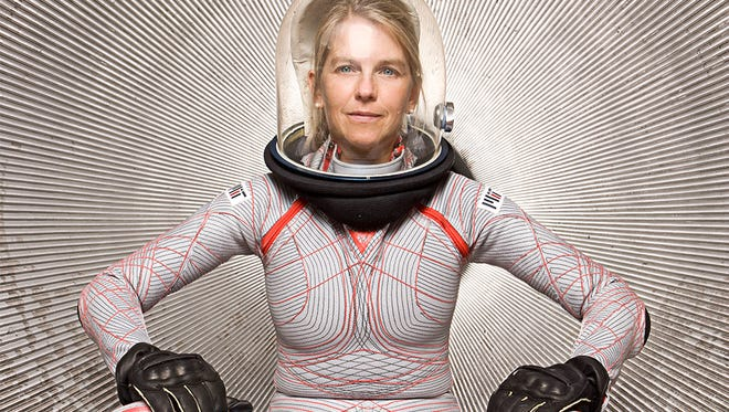 In this file photo courtesy of NASA, Dava Newman poses wearing a prototype of the Bio-Suit she and a team of engineers developed at MIT. The new generation space suit is lighter and offers greater mobility to astronauts than conventional gas-pressurized space suits.
