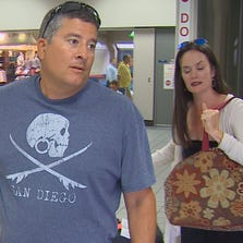 Julianne and Rob Amezcua return to D/FW Airport after becoming stuck in Cabo San Lucas following a hurricane.