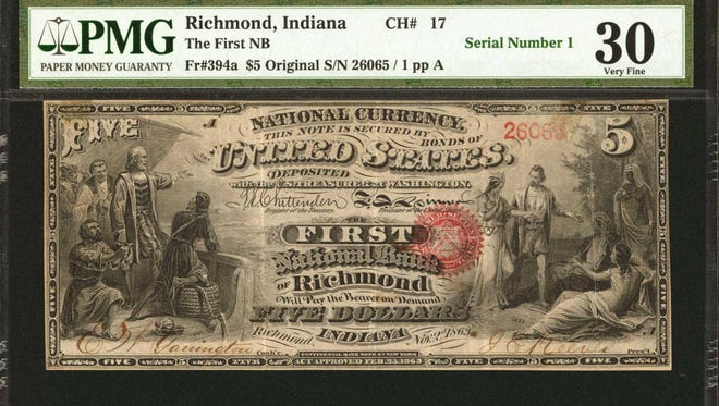 The back of an 1863 piece of U.S. currency is seen in this undated photo. The bill is up for auction Nov. 9, 2017.