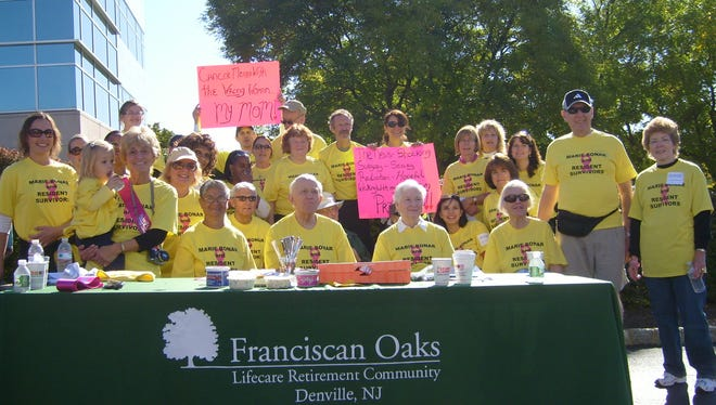 Franciscan Oaks residents and staff formed participate in a cancer walk in 2009.
